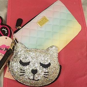 Betsey johnson 2pc wristlet glitter kitty rainbow
